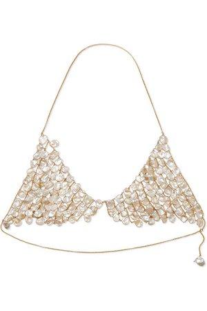 Alighieri   Gold-plated pearl triangle bra   NET-A-PORTER.COM