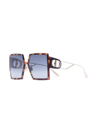 Dior Eyewear Montaigne Havana Square Sunglasses - Farfetch
