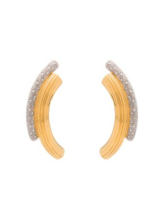 Panconesi curved crystal embellished earrings gold & silver PA20F17OR - Farfetch