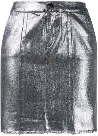 metallic mini skirt