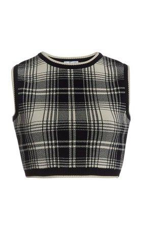 Cropped Plaid Knit Top By Oscar De La Renta | Moda Operandi