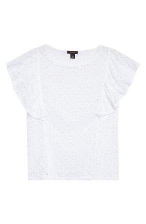 Halogen® Flutter Sleeve Stretch Lace Top | Nordstrom