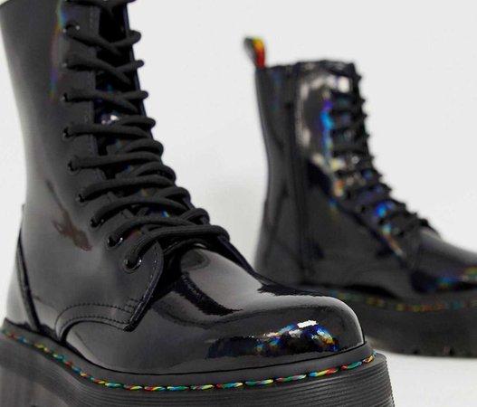 dr martens jadon x flatform chunky leather boots in black rainbow