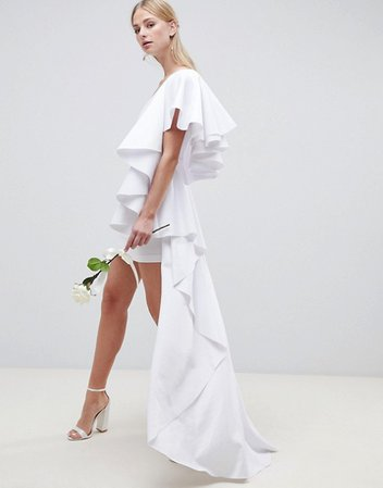ASOS EDITION asymmetric ruffle wedding dress with high low hem | ASOS