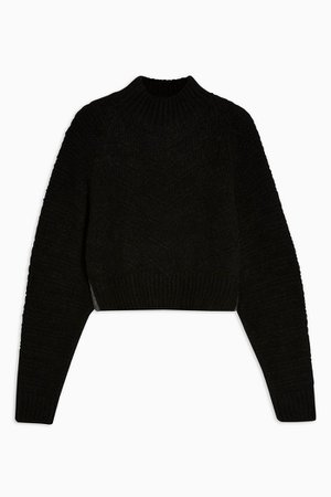 Black Chevron Super Crop Knitted Sweater | Topshop