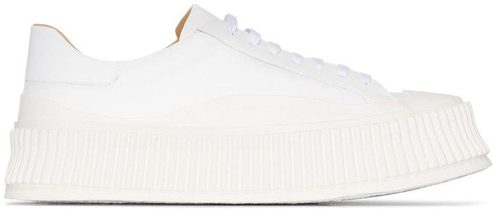 Ridged Sole Leather Sneakers