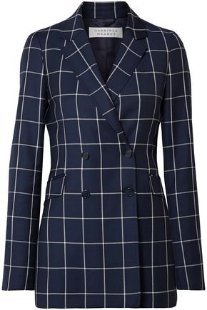Miles double-breasted checked wool-crepe blazer | GABRIELA HEARST | Sale up to 70% off | THE OUTNET
