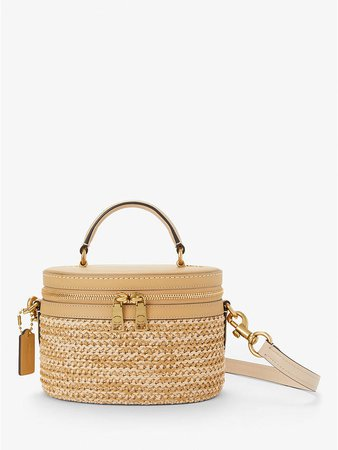 Coach Trail Woven Straw Cross Body Bag, Tan at John Lewis & Partners