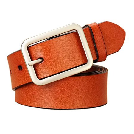 Vonsely Soft Wide Leather Belt for Jeans Shorts, Classic Plain Pattern Trousers Leather Belt with Metal Buckle, Red Brown Belt 105CM at Amazon Women's Clothing store