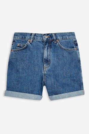 Denim Roll Hem Mom Shorts   Topshop