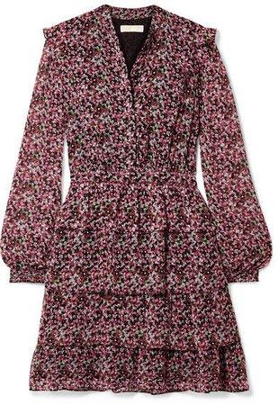 Ruffled Tiered Floral-print Chiffon Mini Dress - Pink