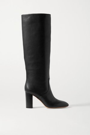 Goldy Leather Knee Boots - Black