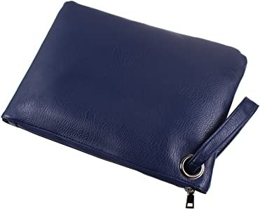 Tskybag Oversized Clutch Bag Purse, Womens Large Pu leather Evening Wristlet Handbag (Dark Blue): Amazon.co.uk: Shoes & Bags