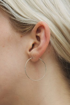 Silver Thin Hoop Earrings