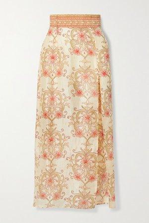 The Ahimsa Printed Silk-dupioni Midi Skirt - Cream