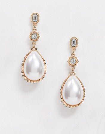 ASOS DESIGN earrings with crystal encrusted pearl drop in gold tone | ASOS