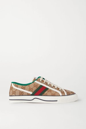 Beige Tennis 1977 logo-embroidered canvas sneakers | Gucci | NET-A-PORTER