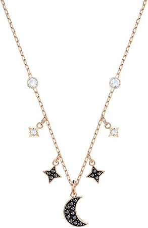 SWAROVSKI Women's Symbolic Rose-gold Plated Moon Necklace, Black Crystal