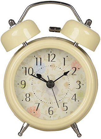 HENSE Classical Retro Twin Bell Mute Silent Quartz Movement Non Ticking Sweep Second Hand Bedside Desk Analog Alarm Clock with Nightlight and Loud Alarm HA01 (Green): Amazon.ca: Home & Kitchen