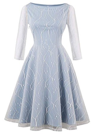 Kimring Women's Vintage 3/4 Length Sleeve Lace A-line Swing Cocktail Party Dress at Amazon Women's Clothing store:
