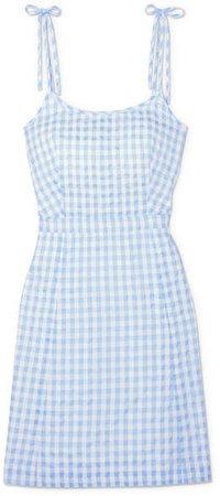 Gingham Cotton-blend Mini Dress - Blue