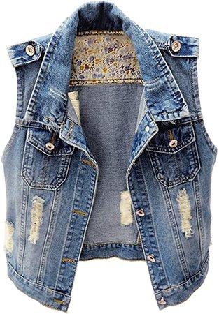 KEDERA Womens Denim Jean Vest Classic Cropped Distressed Sleeveless Jean Jacket at Amazon Women's Coats Shop
