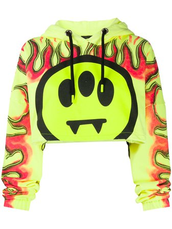 Shop yellow BARROW graphic print cropped hoodie with Express Delivery - Farfetch