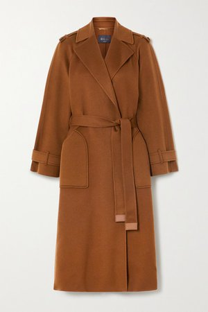 Belted Cashmere Trench Coat - Camel