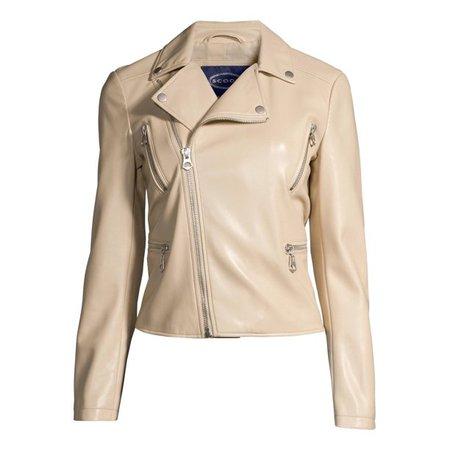 Scoop - Scoop Women's Faux Leather Moto Jacket - Walmart.com - Walmart.com