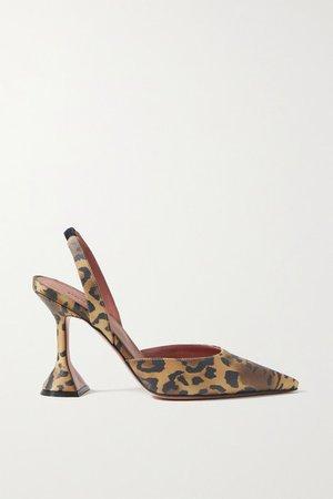 Holli Leopard-print Satin Slingback Pumps - Leopard print