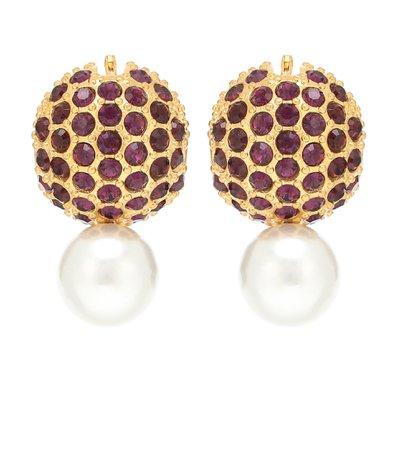 Erdem, Crystal and faux pearl earrings