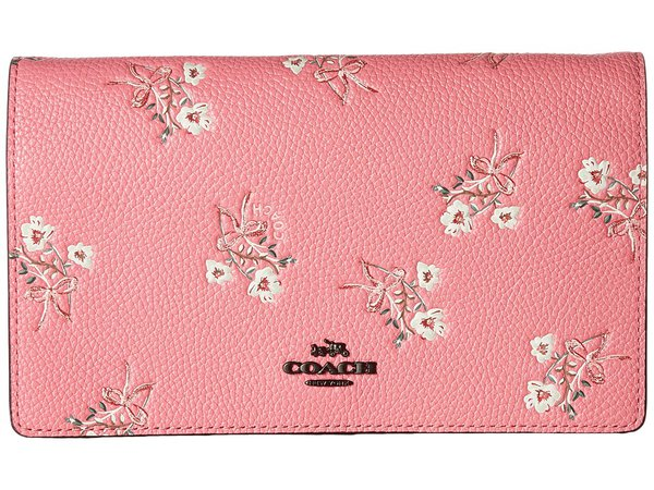 COACH - Floral Bow Fold-Over Crossbody Clutch (BP/Bright Pink) Clutch Handbags