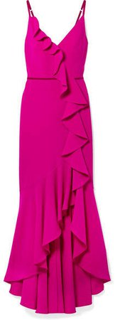 Velvet-trimmed Ruffled Crepe Gown - Fuchsia