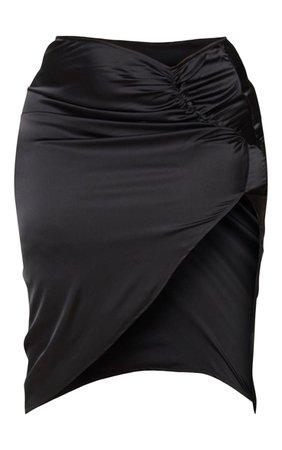 Plus Black Satin Ruching Split Midi Skirt | PrettyLittleThing USA