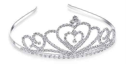 Amazon.com : Lovelyshop Rhinestone Crystal Tiara-Wedding Bridal Prom Birthday Pegeant Prinecess Crown (Heart) : Beauty