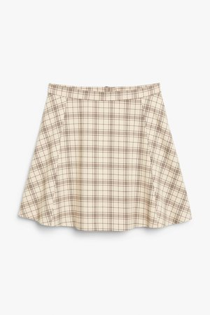 A-line skirt - Beige and brown - Mini skirts - Monki WW