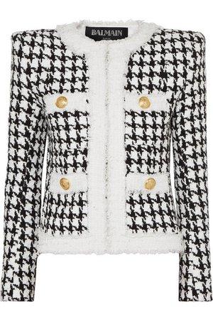 Balmain | Button-embellished houndstooth tweed blazer | NET-A-PORTER.COM