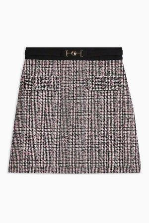 Metal Trim Boucle Check Mini Skirt | Topshop