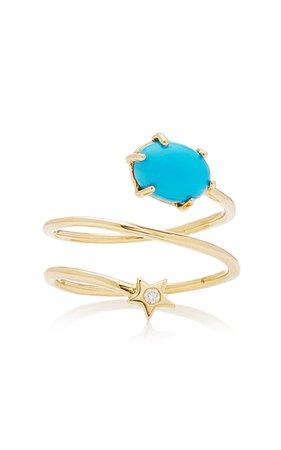 Cosmo 14K Gold, Diamond and Turquoise Ring by Andrea Fohrman | Moda Operandi
