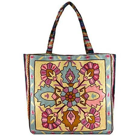 "Amazon.com: Vintage Bohemian Summer Embroidered Large Tote Bag Tapestry Shoulder Bag Women Handbag (""yellow&cobalt blue""): Clothing"