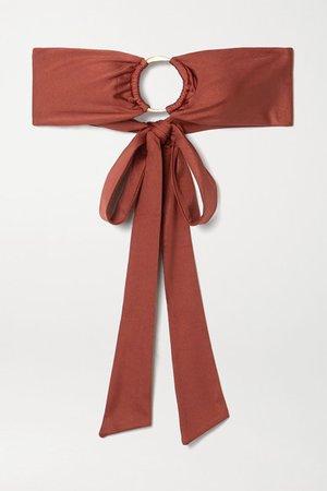 Lexi Embellished Bandeau Bikini Top - Brown