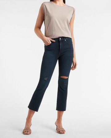 High Waisted Ripped Raw Hem Cropped Flare Jeans
