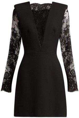 Sarabande Lace And Wool Blend Mini Dress - Womens - Black