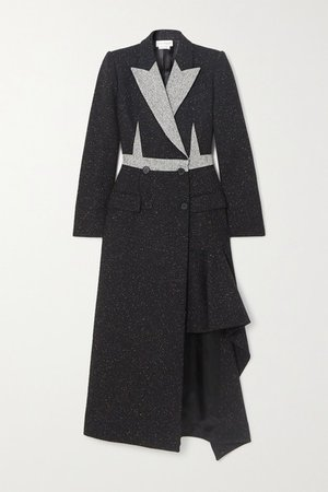 Asymmetric Double-breasted Donegal Wool-blend Coat - Black