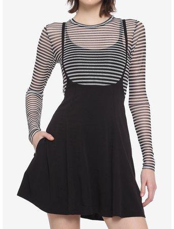 Black High Waisted Suspender Skirt