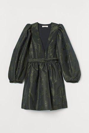 Patterned Wrap-front Dress - Black