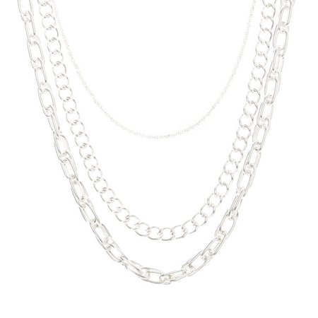 Silver Chain Multi Strand Necklace | Claire's US