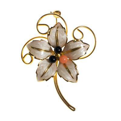 Vintage Flower White Lily Brooch, White Enamel, Black and Pink Lucite - Vintage Meet Modern
