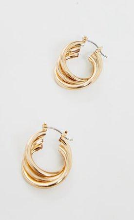 Gold Triple Twist Hoop Earrings | Accessories | PrettyLittleThing