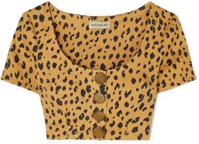 Button-detailed Cropped Leopard-print Tencel-blend Top - Leopard print